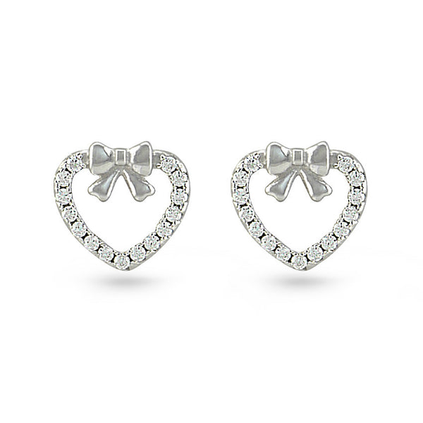 Silver Bow And Cubic Zirconia Heart Stud Earrings