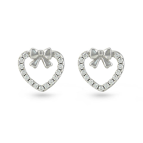CZ Heart & Silver Bow Stud Earrings