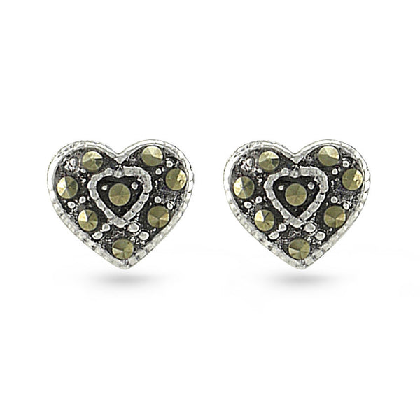 Olive Green Marcasite Heart Sterling Silver Stud Earrings