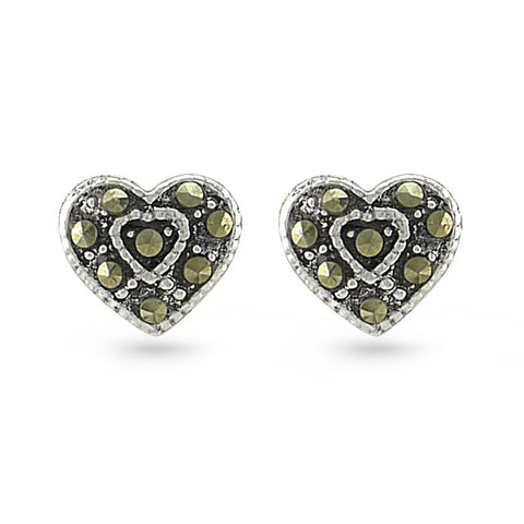 Marcasite Heart Stud Earrings
