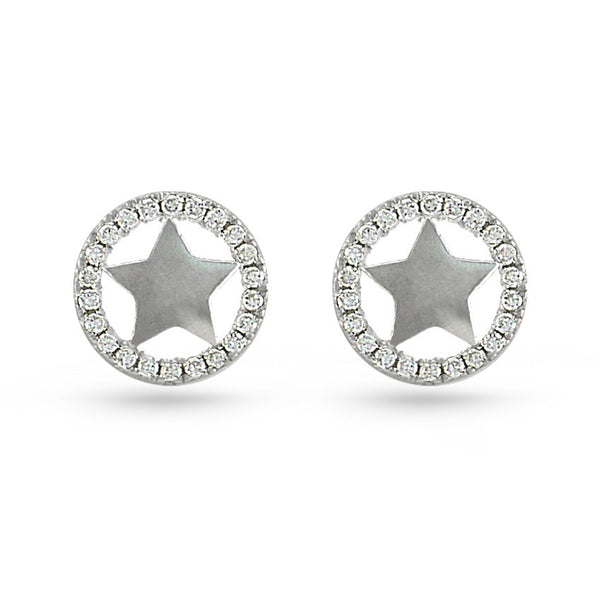 Cubic Zirconia Circle Sterling Silver Sheriff Star Stud Earrings