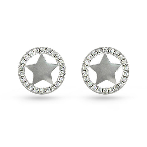 CZ Circle & Sheriff Star Stud Earrings