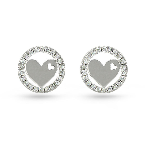 Cubic Zirconia Circle Sterling Silver Heart Stud Earrings