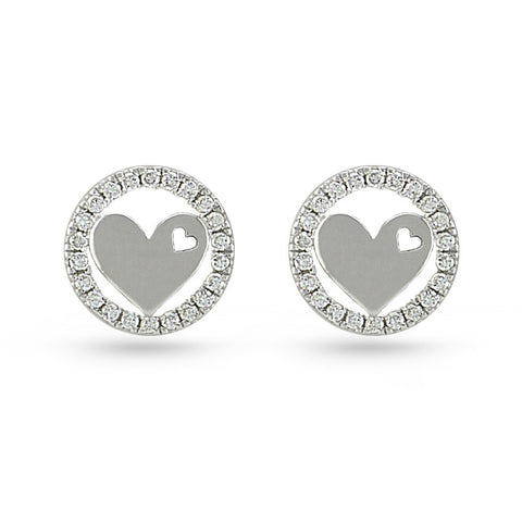 CZ Circle & Heart Stud Earrings