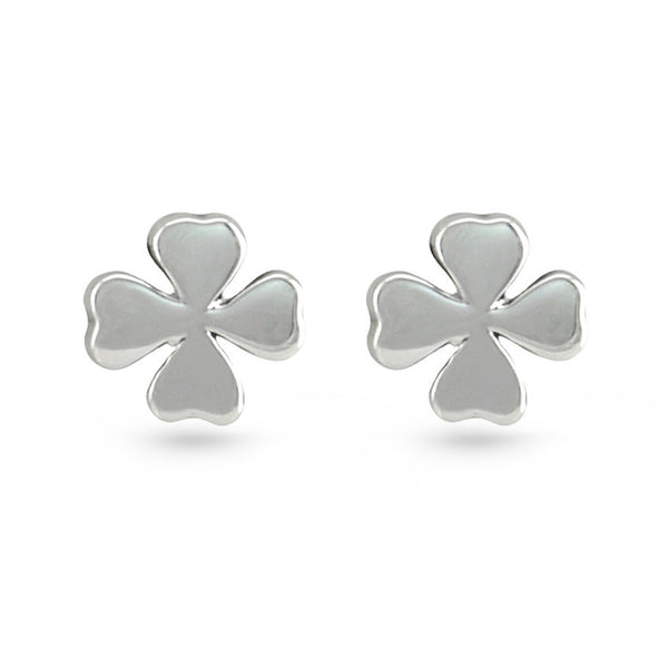 Silver Four-Leaf Clover Stud Earrings