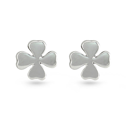 Silver Four Leaf Clover Stud Earrings