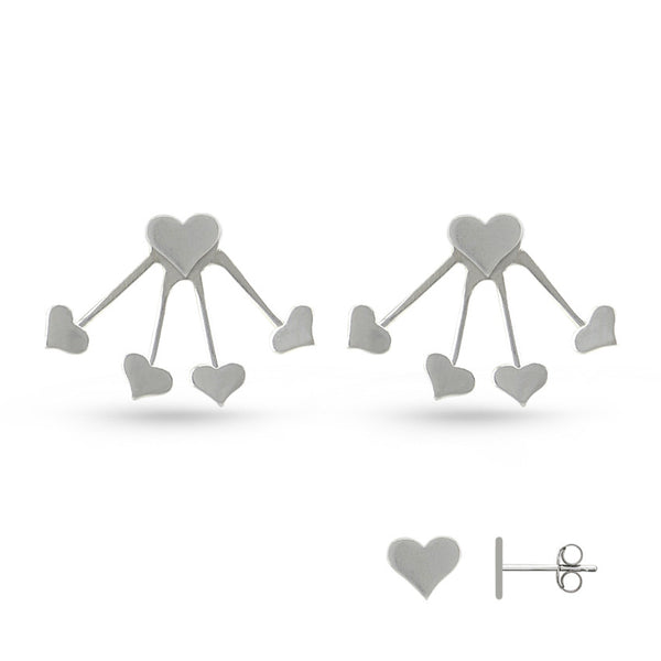 Sterling Silver Heart Shaped Earring Jackets
