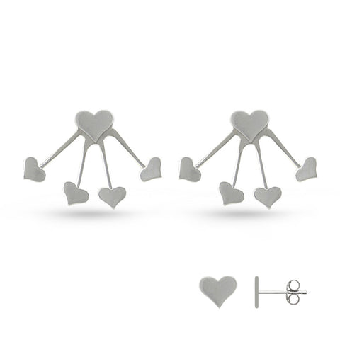 Silver Heart Jacket Earrings