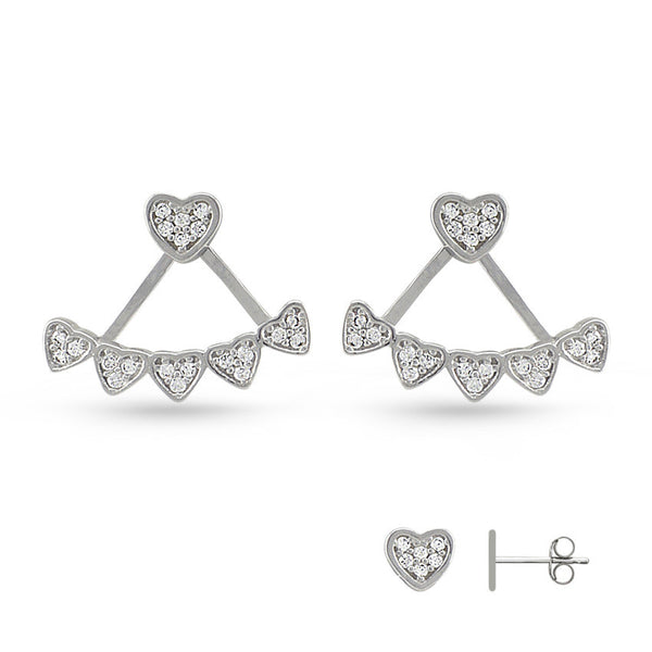 Cubic Zirconia Hearts Pierced Sterling Silver Earring Jackets