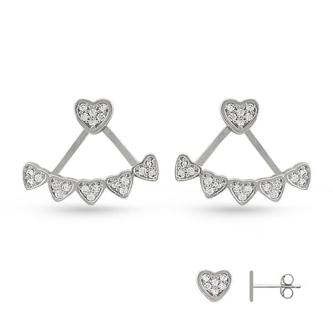Cubic Zirconia Hearts Jacket Earrings