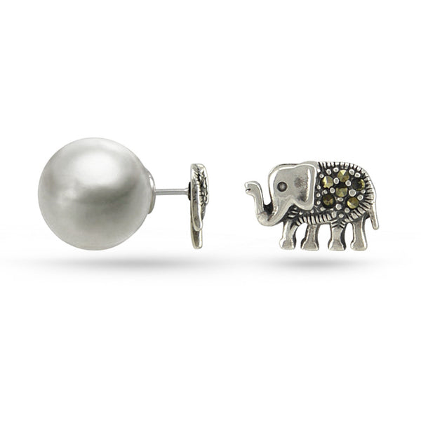 Olive Green Marcasite Elephant Double Sided Sterling Silver Stud Earrings