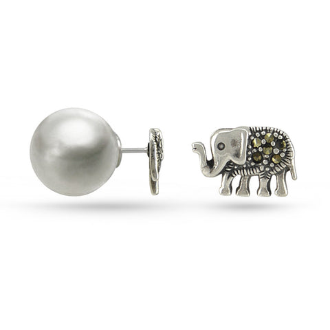 Marcasite Elephant Double Sided Stud Earrings