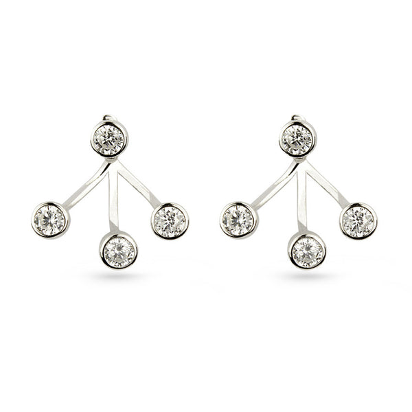 White Round Cubic Zirconia Pierced Jacket Earrings