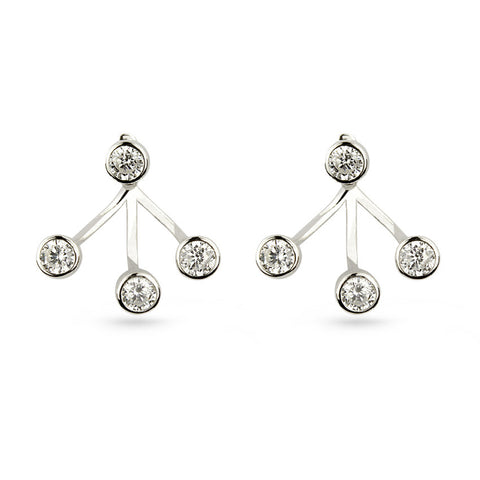 Round Cubic Zirconia Jacket Earrings