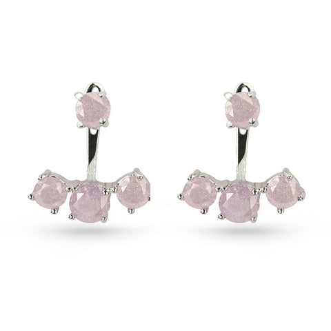 Rose Quartz Silver Jacket Earrings
