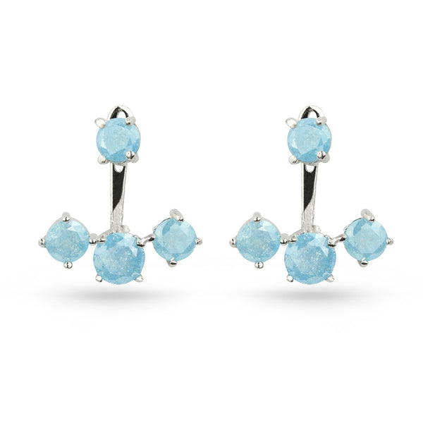 Sky Blue Quartz Round Silver Pierced Jacket Earrings
