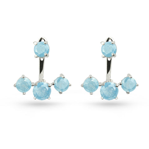Sky Blue Quartz Silver Jacket Earrings