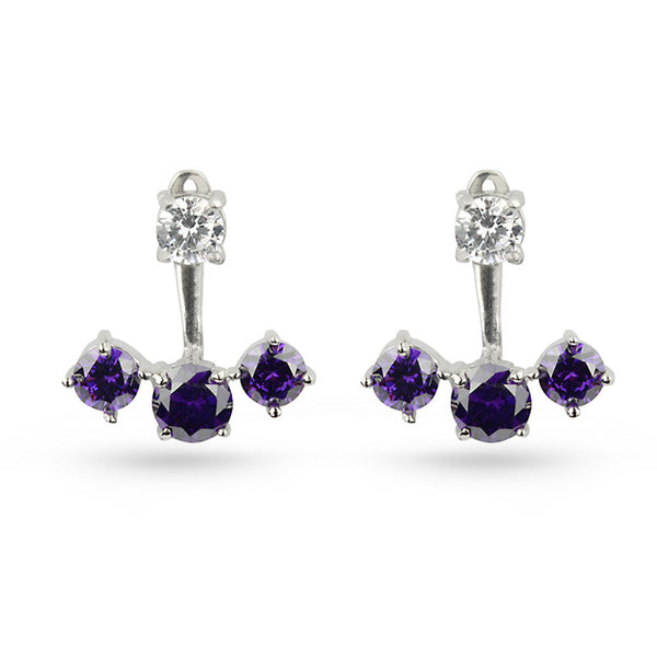 Amethyst Purple Cubic Zirconia Pierced Sterling Silver Earring Jackets