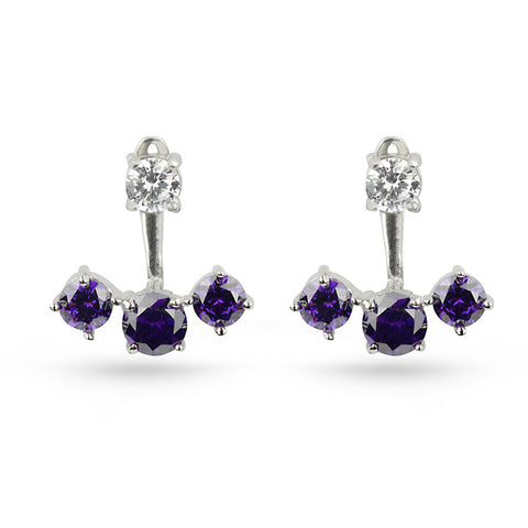Amethyst Purple CZ Silver Earring Jackets