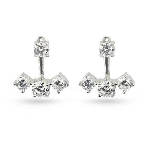 White CZ Silver Earring Jackets