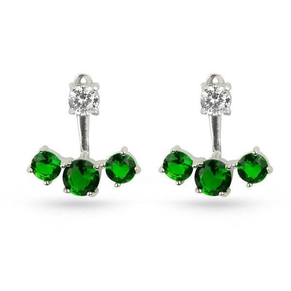 Emerald Green Cubic Zirconia Pierced Sterling Silver Earring Jackets
