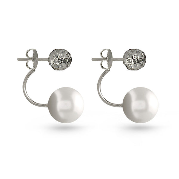 Pearl And Cubic Zirconia Silver Ball Earring Jackets