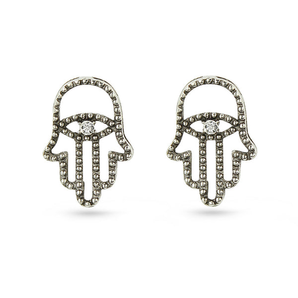 Hamsa Crystal Stud Earrings