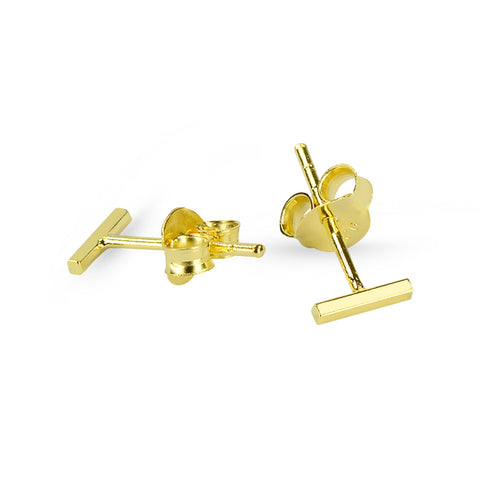 Yellow Gold Bar Stud Earrings