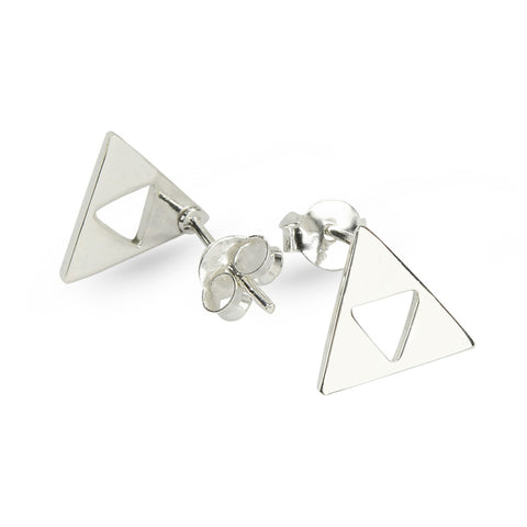 Silver Triangle Cut Stud Earrings