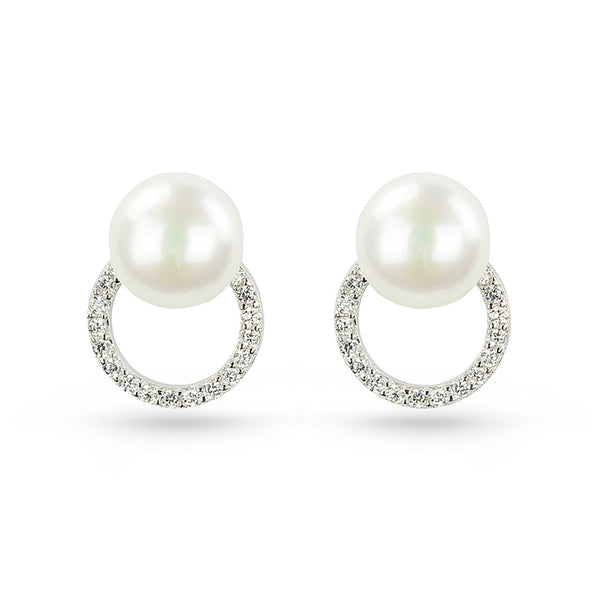 Freshwater Pearl And Cubic Zirconia Circle Stud Earrings
