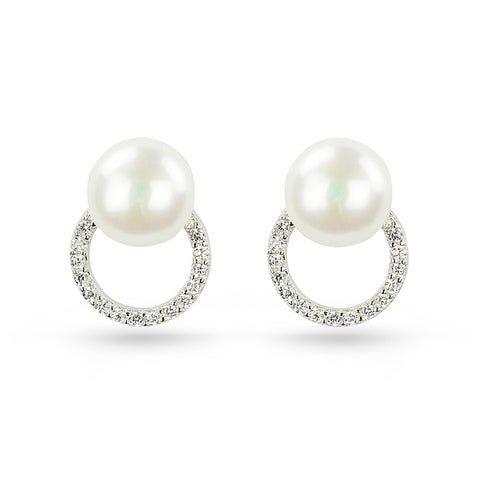 Freshwater Pearl & Cubic Zirconia Circle Stud Earrings