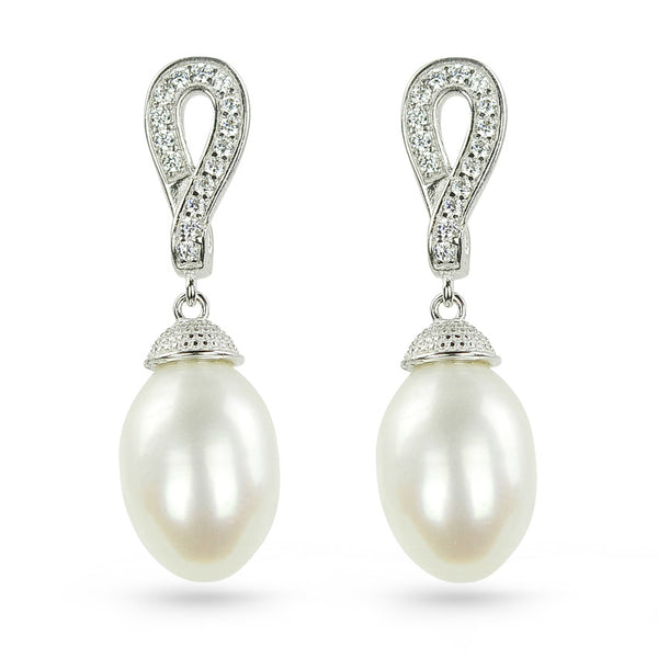 Forever Freshwater Pearl And Cubic Zirconia Drop Earrings