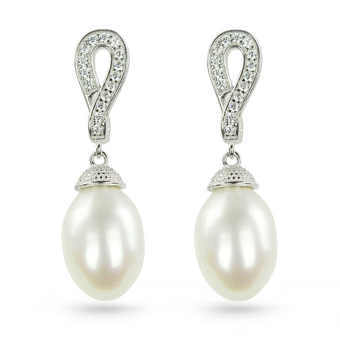 Forever Freshwater Pearl & CZ Drop Earrings