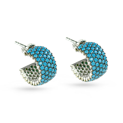 Turquoise Blue 3/4 Hoop Stud Earrings