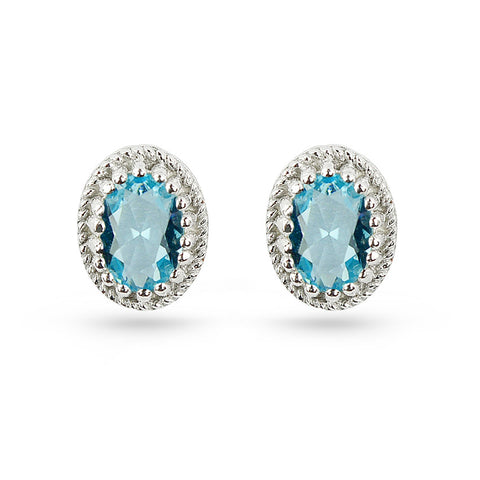 Aquamarine Blue Oval Stud Earrings