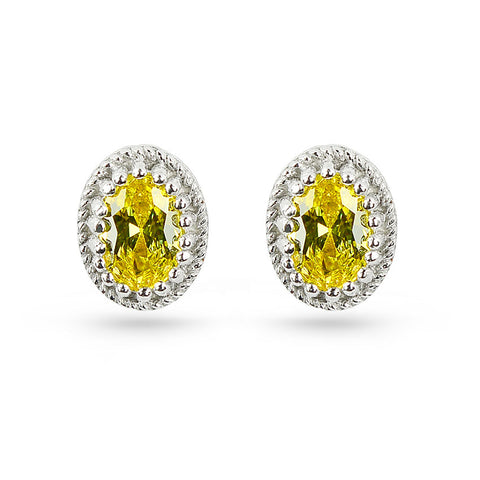 Citrine Yellow Oval Stud Earrings