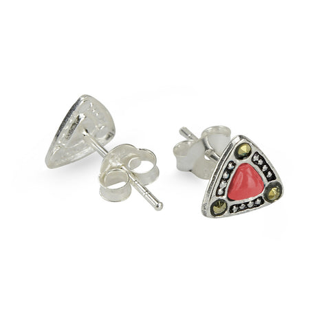 Marcasite Red Resin Triangle Stud Earrings