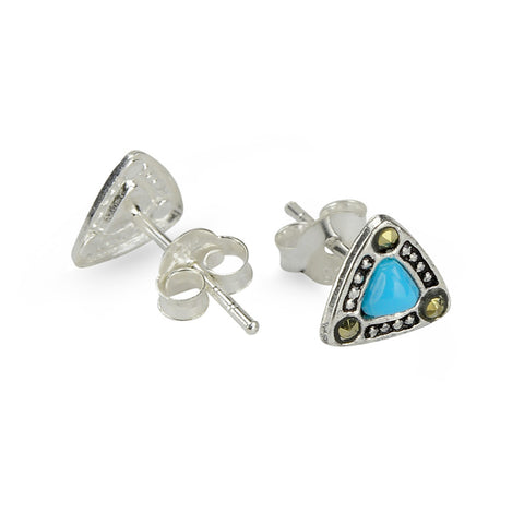 Marcasite Blue Turquoise Triangle Stud Earrings