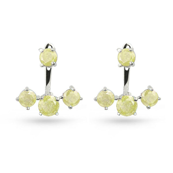 Yellow Quartz Round Silver Pierced Jacket Earrings