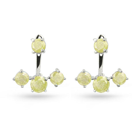 Yellow Quartz Silver Jacket Earrings