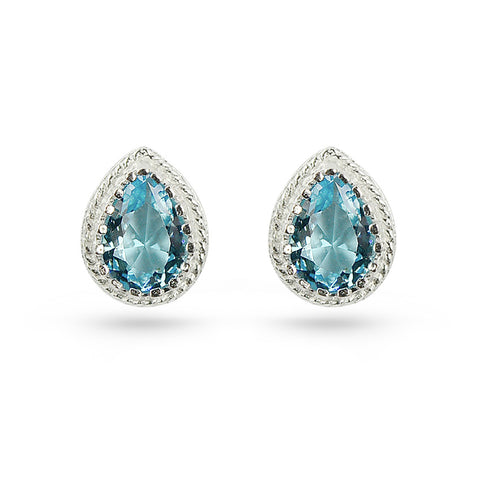 Aquamarine Blue Tear Drop Stud Earrings