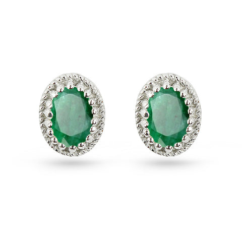 Emerald Green Oval Stud Earrings