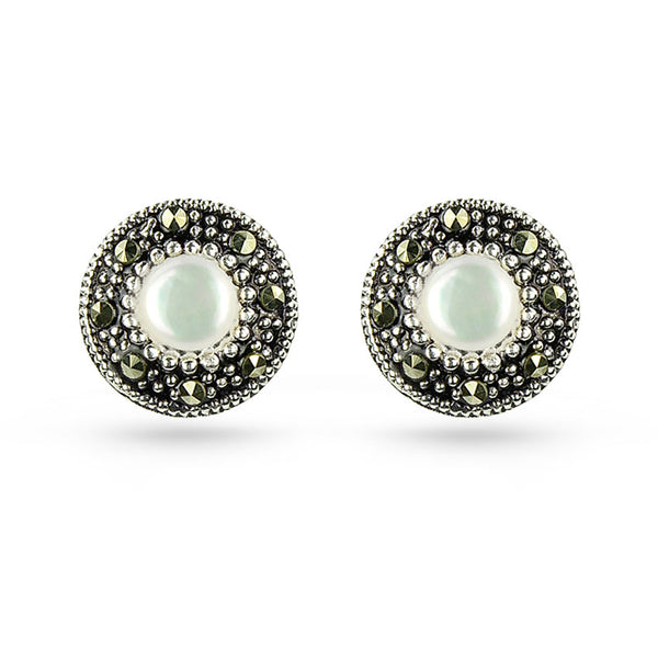 Sea Shell And Marcasite Round Stud Earrings