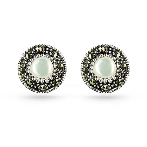 Sea Shell & Marcasite Round Stud Earrings