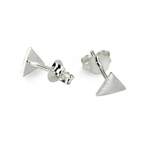 Brushed Silver Triangle Stud Earrings