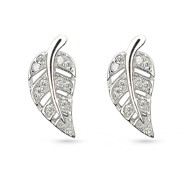Cubic Zirconia Leaf Sterling Silver Stud Earrings
