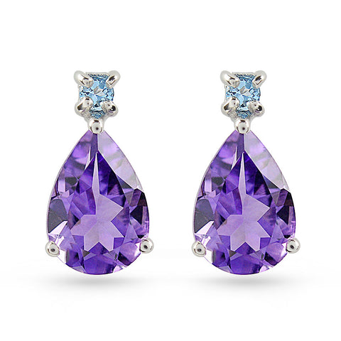 Amethyst & Swiss Blue Topaz Stud Earrings