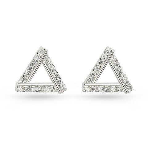 Cubic Zirconia Silver Triangle Stud Earrings