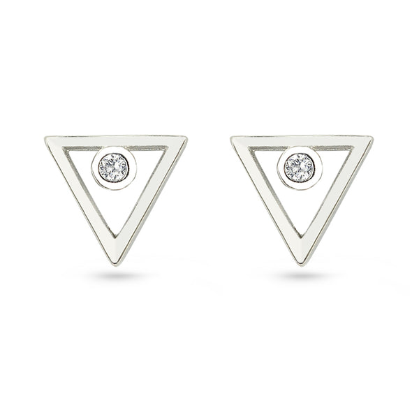 Silver Triangle CZ Circle Stud Earrings