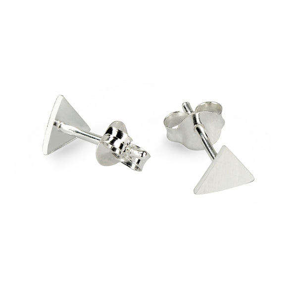 Glossy Look Triangle Sterling Silver Stud Earrings